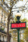 One of Paris's red metro station signs Stock Photography