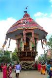 One of the parivar temple car at the great temple car festival of the thiruvarur sri thyagarajar temple. One of the parivar temple car at the great temple car stock photo