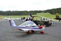 The one and only parked ULM ranked Cricri. The Mende airfield in the French department of Gard Royalty Free Stock Images