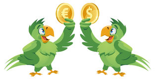 One parrot holding dollar symbol and another parrot holding euro Stock Image