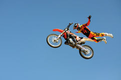 One of the participants in Motocross freestyle comptetition. Stock Images