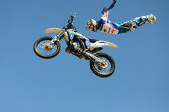 One of the participants in Motorcross freestyle comptetition. Royalty Free Stock Photos