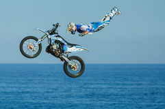 One of the participants in Motorcross freestyle comptetition. Stock Photography