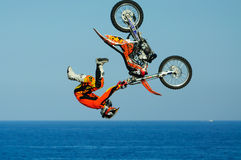 One of the participants in Motorcross freestyle comptetition. Stock Images