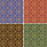 One pattern four colors. Set of four patterns in blue, red, green and brown colors Stock Photography