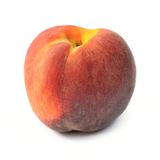 One peach isolated on white background Royalty Free Stock Photo