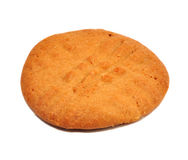 One Peanut Butter Cookie. Isolated on a White Background stock image