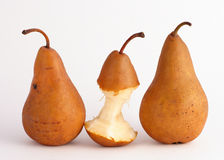 One Pear Eaten Royalty Free Stock Photos