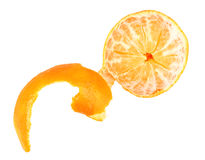 One peeled fruit of orange tangerine Stock Image