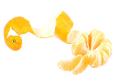 One peeled fruit of orange tangerine Stock Photo
