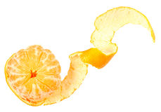 One peeled fruit of orange tangerine Royalty Free Stock Image
