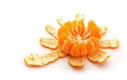 One peeled tangerine isolated on white Royalty Free Stock Photography