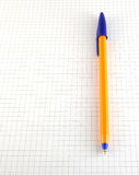 One pen on the checked paper Royalty Free Stock Image