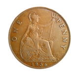 One penny. Of 1936 year Stock Images