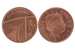 One penny coin. Over a white background royalty free stock photos