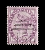 One penny lilac stamp Stock Photo