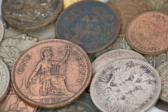 One penny and old coins Royalty Free Stock Images