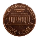 One Peny. American One Cent; Isolated, Path included Stock Photo