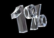 One percent in glass (3D) Stock Images