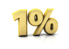 One percent gold. 3d one percent gold on white background Royalty Free Stock Photos