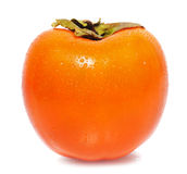 One persimmon. On isolated background Stock Images