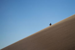 One Person Climbing Up Big Daddy Dune, Desert Landscape, Namibia Royalty Free Stock Photos