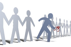 One person cut out of paper doll line. Person steps out of line as symbol of cut loose and go your own way Royalty Free Stock Image