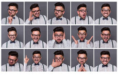 One person with different emotions Stock Photography