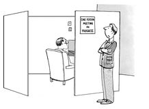 One Person Meeting. Business cartoon about meetings. The businessman really needed to get some work done so he posted a sign: one person meeting in progress stock illustration