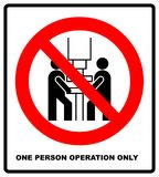One person operation only sign. Prohibition sign or no sign icon vector simple isolated on white background Royalty Free Stock Photography