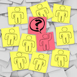 One Person Raises Hand for Question - Sticky Notes Royalty Free Stock Image