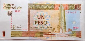 One peso from cuba. A Cuba one peso- un peso convertible royalty free stock image