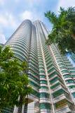 One of Petronas Twin Towers in Kuala Lumpur Stock Photos