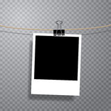 One photo on clip. Vector photo on cable with office metal clip, fully editable with transparent shadow in separate layer Royalty Free Stock Photos