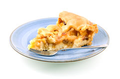 One piece of apple pie. Isolated on white background royalty free stock photography