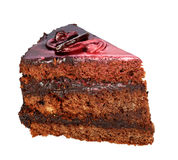 One piece of cake covered with chocolate Royalty Free Stock Photos