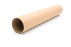 One piece of empty toilet roll. On white Royalty Free Stock Image