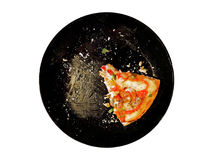 One Piece of Pizza Left on White Background, Clipping Path Royalty Free Stock Photography