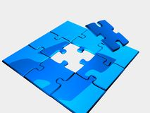 Only one piece to the puzzle left. A 3d render of a puzzle. There is only one more piece left Stock Photography