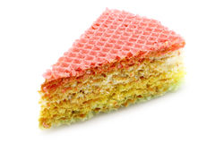 One piece of a waffle cake with condensed milk clo Stock Photography