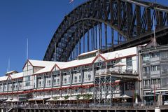 Walsh Bay and Sydney Harbour Bridge Royalty Free Stock Photo