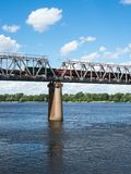 One of the piers supporting the railroad bridge Royalty Free Stock Photography