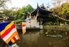 The One Pillar Pagoda Chua Mot Cot is the historic, most iconic Buddhist temple in Hanoi, Vietnam stock images