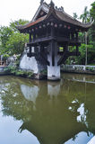 One Pillar Pagoda in Hanoi, Vietnam. With its reflection in the lake Royalty Free Stock Images