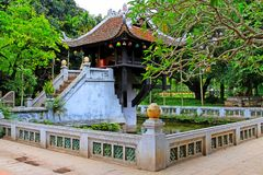 One Pillar Pagoda, Hanoi Vietnam. One Pillar Pagoda is a historic Buddhist temple in Hanoi, the capital of Vietnam. The temple was built by Emperor Lý Thái royalty free stock image