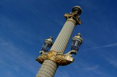 Pillars in the square in Paris, France stock images