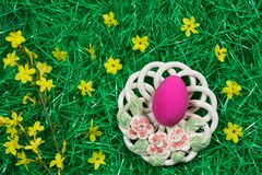 One pink Easter egg in decorative bowl and yellow flowers in green artificial grass. royalty free stock photo