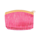 one pink cosmetic bag or purse with zipper isolated on white Royalty Free Stock Photos