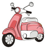 One pink moped. Pink moped on a white background Stock Image