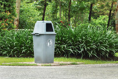 one plastic bin in public park Royalty Free Stock Photos